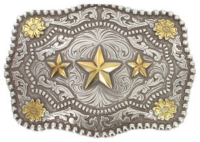 Cody James Men's Triple Star Belt Buckle, Silver, hi-res