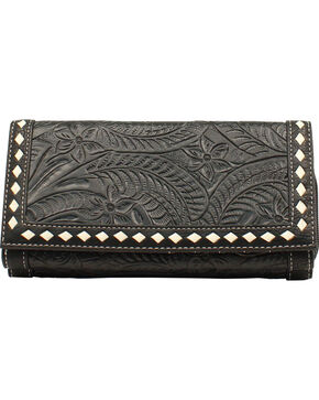 Blazin Roxx Women's Floral Tooled Wallet, Black, hi-res