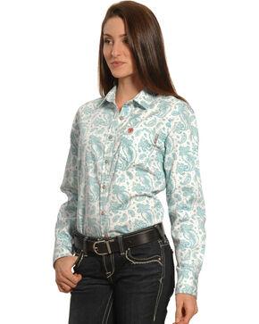 Ariat Women's Flame-Resistant Crane Work Shirt, Blue, hi-res