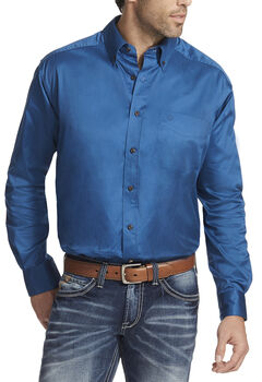 Ariat Men's Blue Solid Twill Button Down Shirt - Big & Tall, , hi-res
