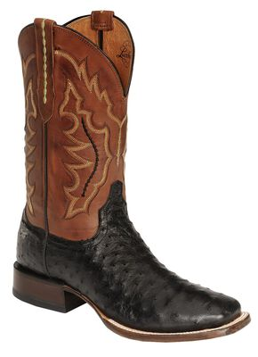Lucchese Handcrafted 1883 Full Quill Ostrich Horseman Cowboy Boots, Black, hi-res