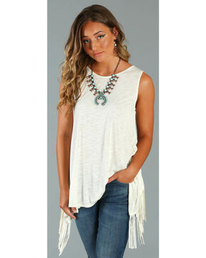 Wrangler Rock 47® Women's Ivory Sleeveless Fringe Western Top , Ivory, hi-res