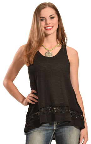 Jody of California Women's Crochet Tank Top, Black, hi-res