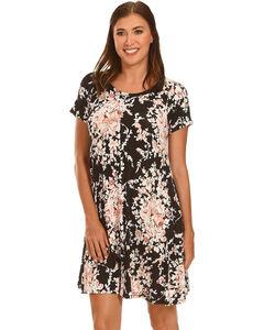 Ces Femme Women's Black Floral Short Sleeve Knit Dress , , hi-res