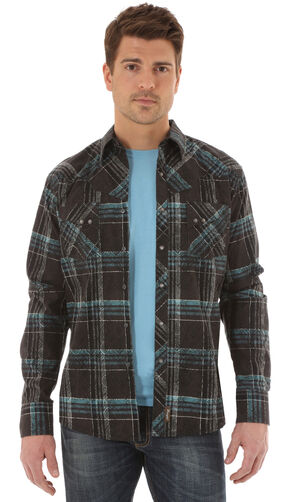 Wrangler Retro Men's Long Sleeve Black Plaid Snap Shirt, Black, hi-res