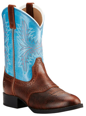 Ariat Girls' Dark Brown Heritage Hackamore Boots - Round Toe , Dark Brown, hi-res