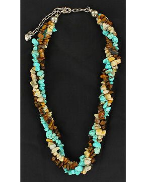 Twisted Multi Stone Beaded Necklace, Multi, hi-res