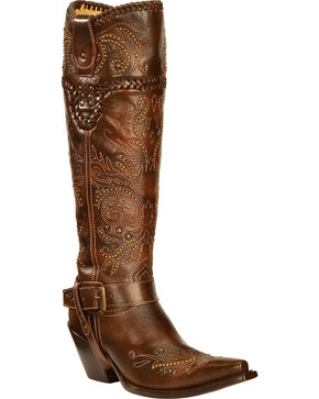 Corral Vintage Studded Harness Cowgirl Boots - Snip Toe, Brown, hi-res