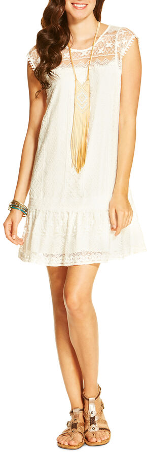 Ariat Women's Claudette Tunic Dress, White, hi-res