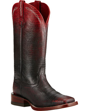 Ariat Red Ombre Lizard Print Cowgirl Boots - Square Toe, Red, hi-res