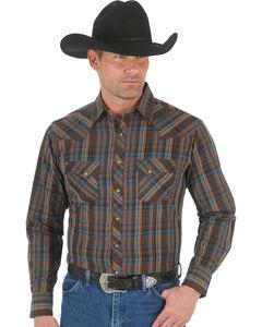 Wrangler Men's Brown & Blue Plaid Fashion Snap Shirt, , hi-res