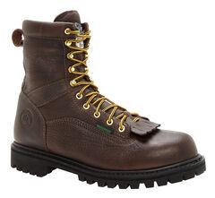 Georgia Waterproof Low Heel Logger Work Boots - Steel Toe, , hi-res
