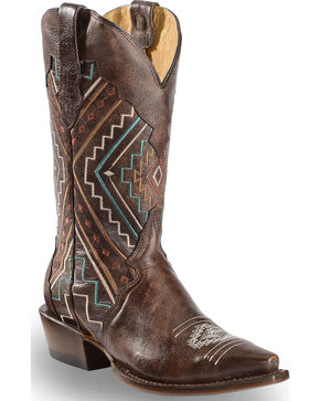 Roper Women's Aztec Embroidered Cowgirl Boots - Square Toe, Brown, hi-res