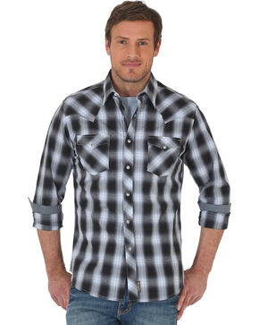 Wrangler Retro Men's Black/Grey Plaid Premium Long Sleeve Snap Shirt - Big & Tall, Black, hi-res