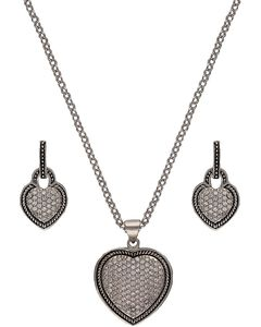Montana Silversmiths Vintage Charm Quilted Heart Jewelry Set, , hi-res