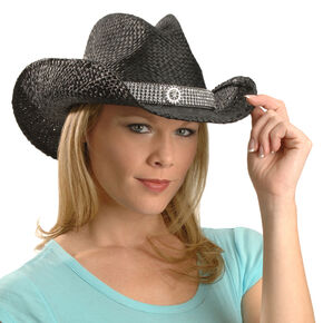 Blazin Roxx Wide Bling Hat Band Raffia Straw Cowgirl Hat, Black, hi-res