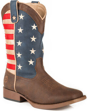 Roper Men's Brown American Patriot Western Boots - Square Toe , Brown, hi-res