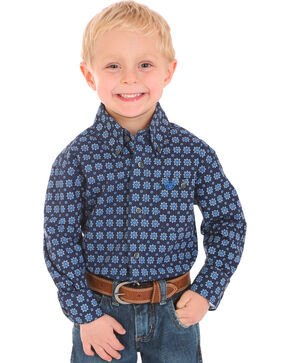 Wrangler Boys' Indigo Classic Print Button Down Shirt , Indigo, hi-res