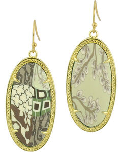 Jilzarah Latte Gold Frame Earrings, , hi-res