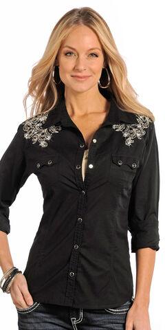 Panhandle Slim Women's Black Studded Vintage Western Shirt, , hi-res