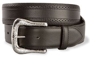 Ariat Black Perforated Edge Belt - Reg & Big, Black, hi-res