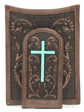 Ariat Turquoise Cross Money Clip Wallet, Brown, hi-res