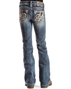 Miss Me Girls' Fleur de Lis Bootcut Jeans - 7-14, , hi-res