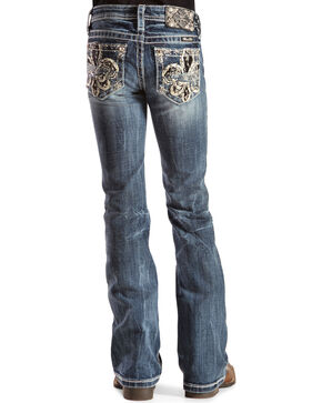 Miss Me Girls' Fleur de Lis Bootcut Jeans - 7-14, Denim, hi-res
