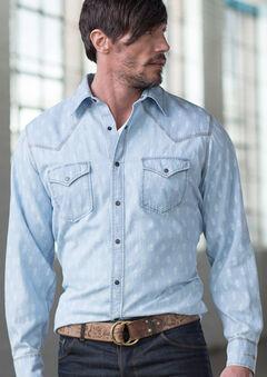 Ryan Michael Men's Chambray Indigo Print Shirt, , hi-res