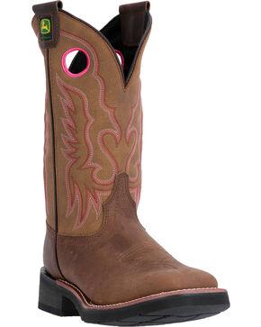John Deere Women's Western Broad Pull-On Work Boots - Steel Toe, Brown, hi-res