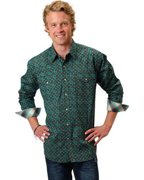 Roper Men's Astro Diamond Long Sleeve Shirt, Turquoise, hi-res