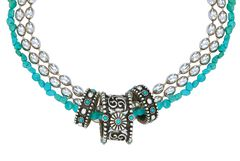 Montana Silversmiths Triple Strand Turquoise Passion Flower Necklace, , hi-res