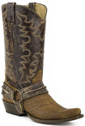 Roper Alligator Belly Print Bandit Harness Cowboy Boots - Square Toe, Tan, hi-res