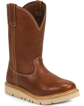 Justin Men's Jacknife Pull-On Work Boot - Round Toe, Tan, hi-res