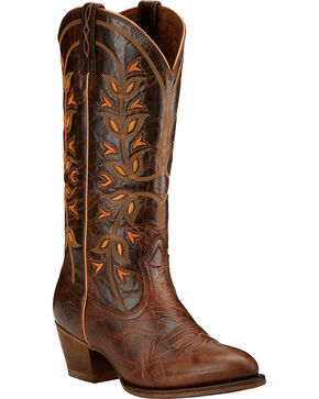 Ariat Desert Holly Chocolate Brown Cowgirl Boots - Round Toe , Chocolate, hi-res