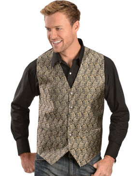 Gibson Black and Gold Paisley Vest, Black, hi-res