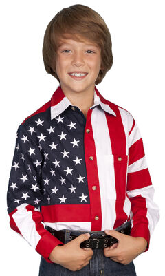 Scully Boys' American Flag Shirt, , hi-res