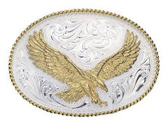 Montana Silversmiths Silver Engraved Small Eagle Western Attitude Belt Buckle, , hi-res
