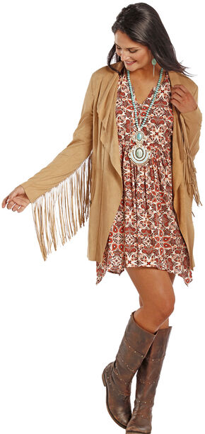 Powder River Outfitters Women's Fringe Microsuede Jacket, Tan, hi-res
