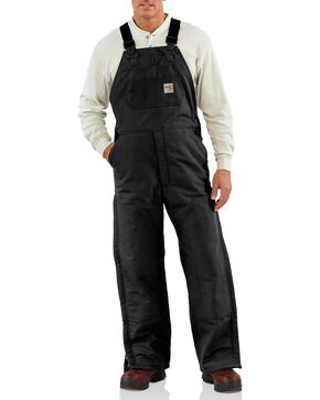 Carhartt Flame Resistant Quilt-Lined Duck Bib Work Overalls - Big & Tall, Black, hi-res