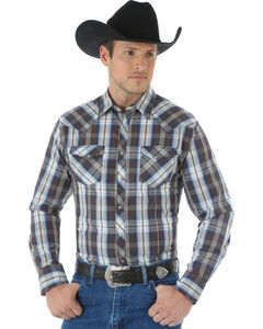 Wrangler Men's Wrinkle Resist Brown Plaid Shirt, , hi-res