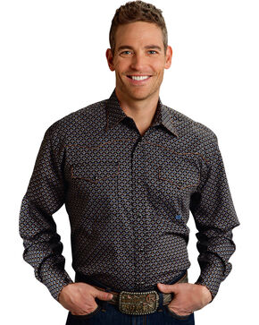Roper Men's Amarillo Collection Navy Dot Snap Long Sleeve Shirt, Blue, hi-res
