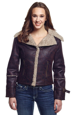 Cripple Creek Women's Faux Shearling Jacket, Green, hi-res