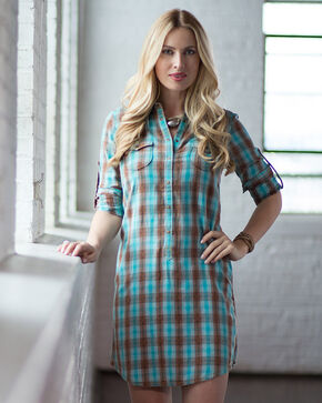 Ryan Michael Women's Ombre Plaid Shirt Dress, Lake Blue, hi-res