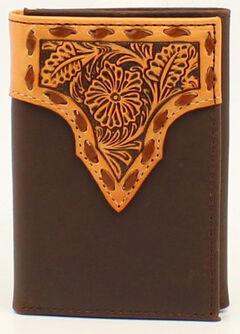 Nocona Stitched Leather Floral Embossed Tri-Fold Wallet, Tan, hi-res