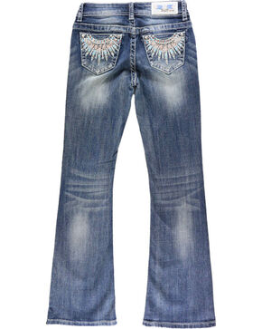 Grace in LA Girls' Indian Necklace Embroidered Jeans - Boot Cut , Blue, hi-res