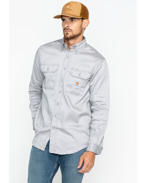 Carhartt Flame Resistant Work-Dry® Twill Long Sleeve Shirt, Grey, hi-res