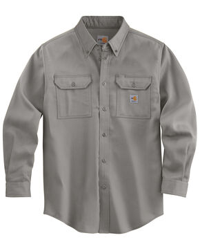 Carhartt Flame Resistant Work-Dry® Twill Long Sleeve Shirt - Big & Tall, Grey, hi-res