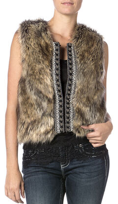 Miss Me Faux Fur Sweater Vest, Brown, hi-res
