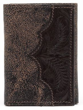 American West Distressed Tri-Fold Wallet, Chocolate, hi-res